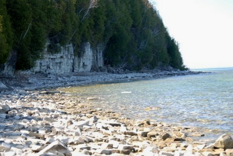 The shore of the Door county headlands.