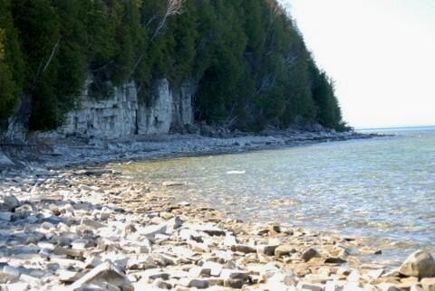 The shore of the Door county headlands.