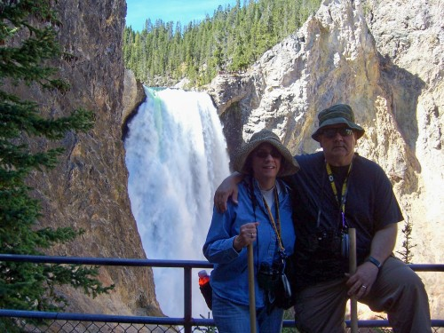 At the base of Yellowstone Falls.