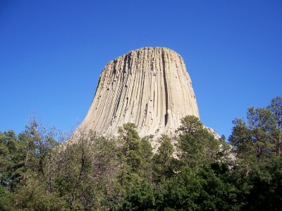 Close up view of Devils Tower