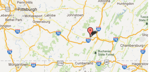 Map location of Schellsburg, PA