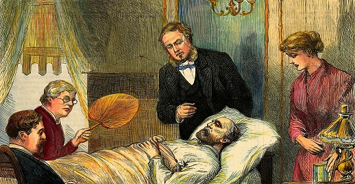 Garfield on his death bed