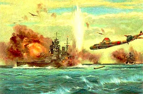 Artist depiction of the attack on the HMS Prince of Wales