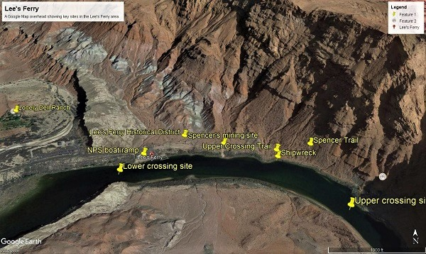 An annotated Google Earth overhead shot of Lee's Ferry